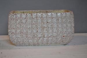 Brown & White Glazed Ceramic Pot