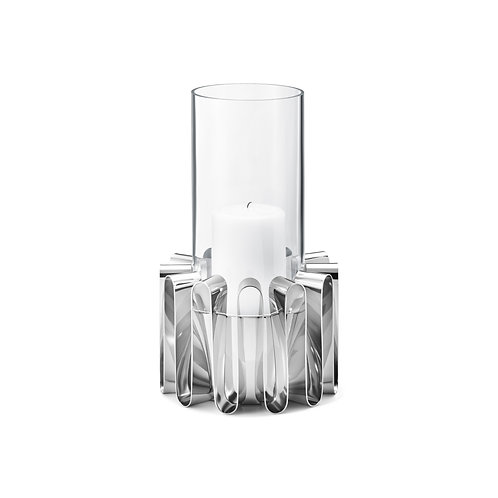 Georg Jensen Frequency Hurricane Candle Holder - Large - Stainless Steel & Glass