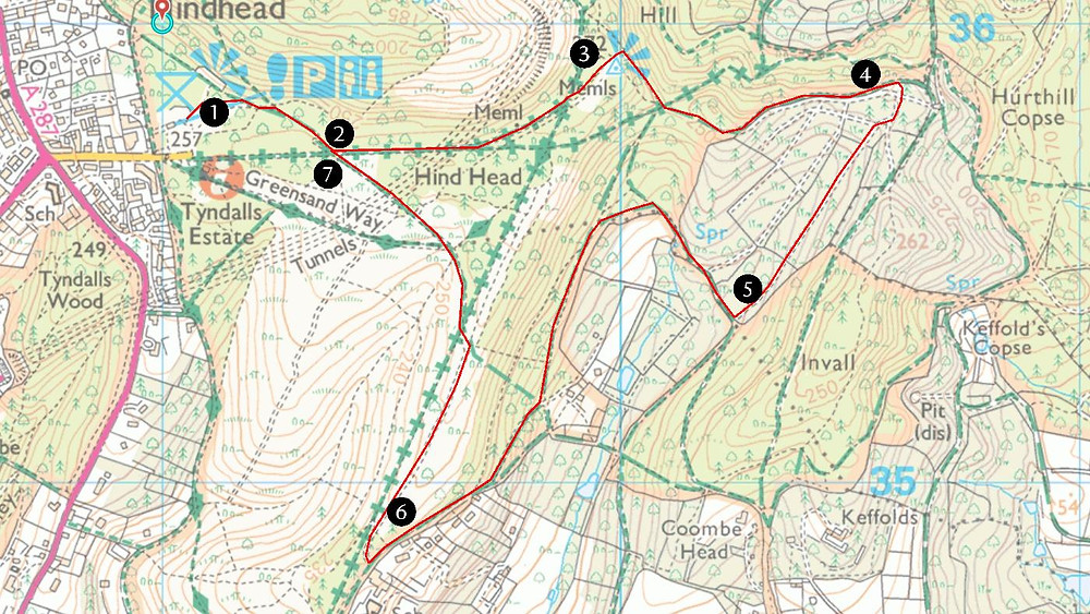 OS map showing Hindhead Hidden Trail route