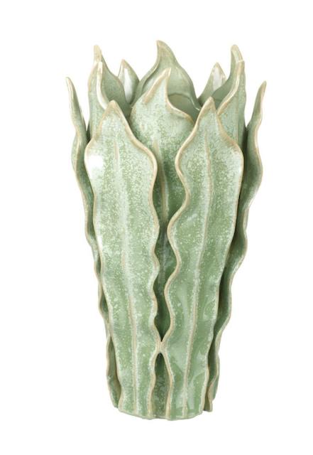 ceramic leaf vase green