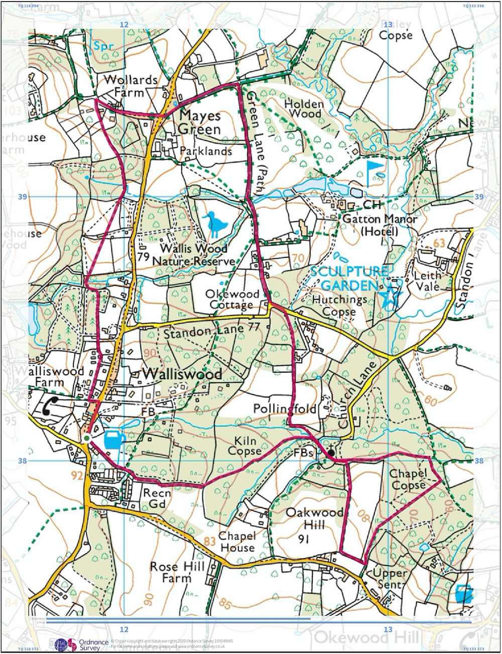 Map of Walliswood round route