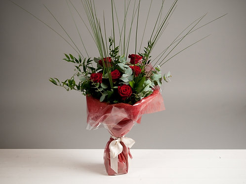 A Velvety Red Rose Bouquet - A Half Dozen Red Roses - blomster designs flowers