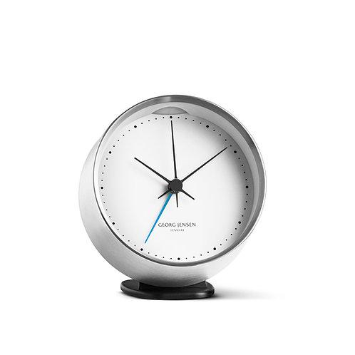 Georg Jensen Henning Koppel Clock with alarm - Steel and White - 10cm