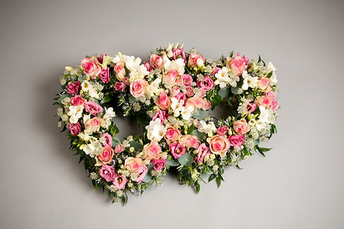 Double Heart Tribute - funeral flowers