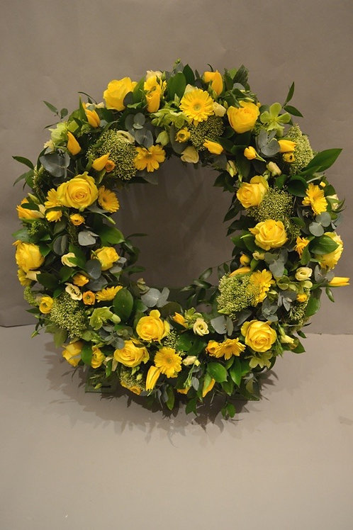 Yellow Rose & Gerbera Standing Wreath