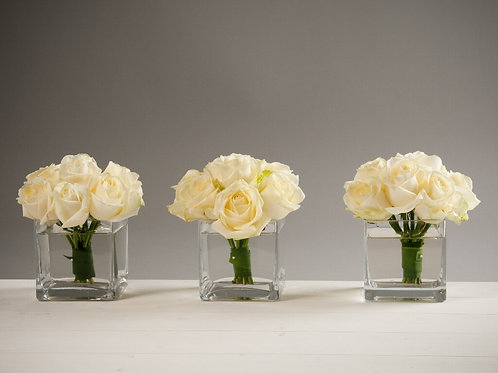 3 Cube Vases with domes of roses