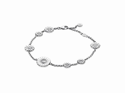 Georg Jensen Daisy Bracelet - Rhodinated Sterling Silver with Enamel