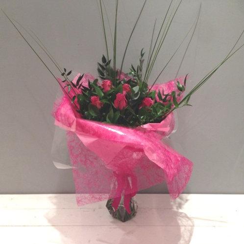 A Velvety Rose Bouquet - A Half Dozen Coloured Roses - order online