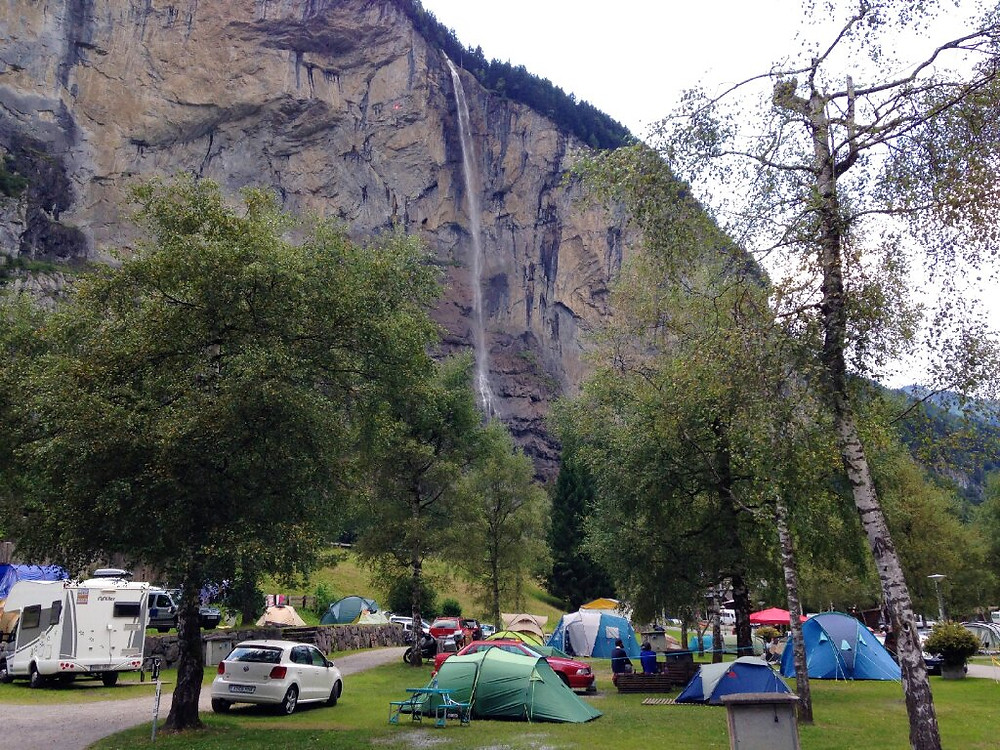 View of the Staubbach Falls from Camping Jungfrau Switzerland