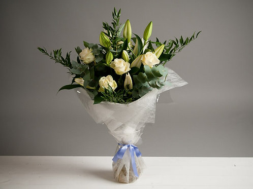 White Oriental Lilies and Roses