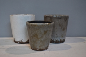 Brown & White Glazed Ceramic Pots