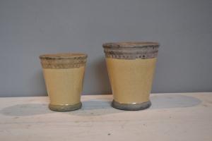 Cream & Grey Glazed Ceramic Pot