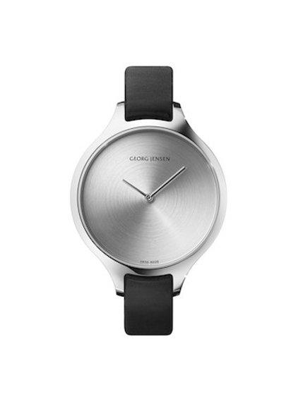Georg Jensen Concave Watch - 39mm - Quartz - Sunray Dial - Black Leather Strap