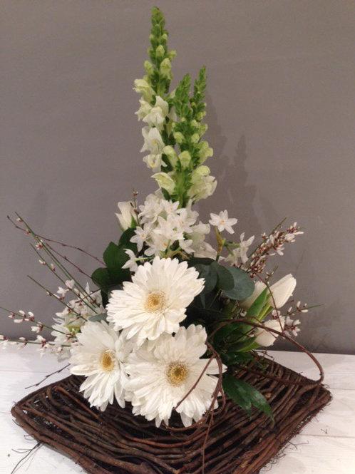 Contemporary Natural Twig Sympathy Arrangement - funeral flowers
