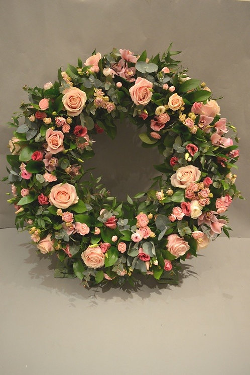 Pink Rose Standing Wreath - funeral flowers