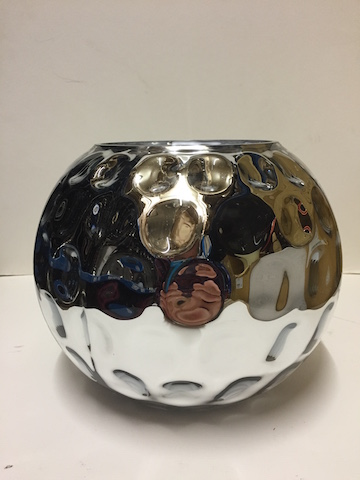 Silver Dimpled Vase