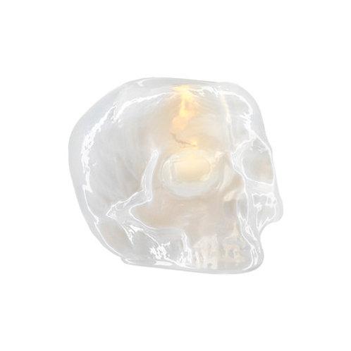 Kosta Boda Still Life Skull Votive - White