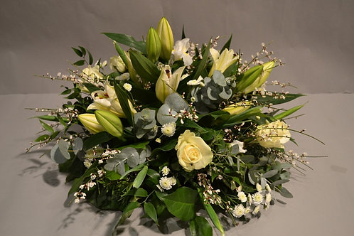 White Posy Arrangement - funeral flowers