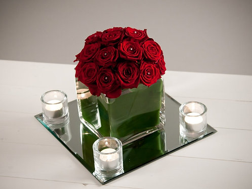 Dome of Roses in a 14cm Cube Vase With Mirror & Votives