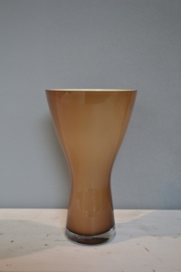 Brown & White Tapered Glass Vase