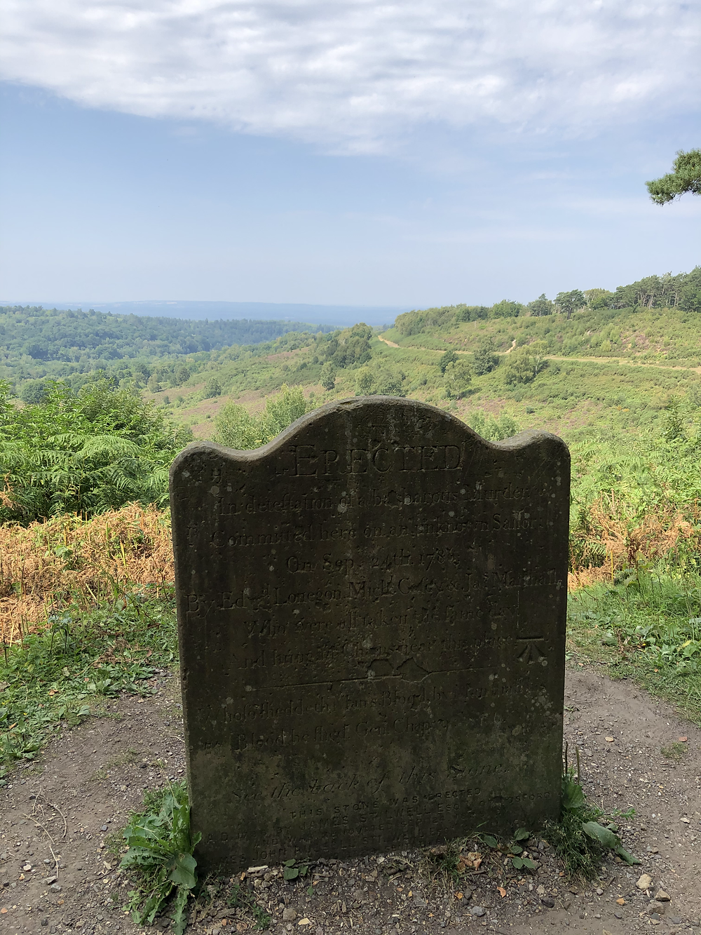 The Sailors stone with views over the devils punch bowl