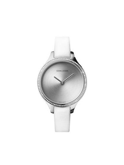 Georg Jensen Concave Watch - 30mm - Quartz - Sunray Dial - Diamond Bezel