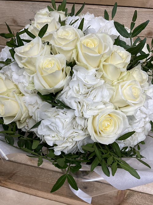 Avalanche Roses & White Hydrangea  Hand Tied Bouquet