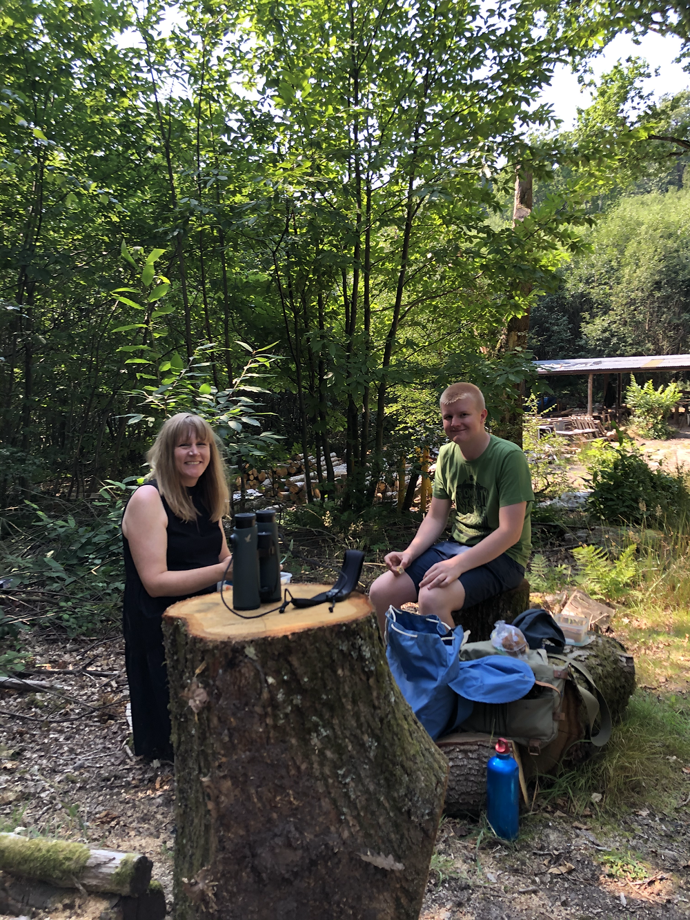 Eating lunch outdoors in a coppiced chestnut woodland