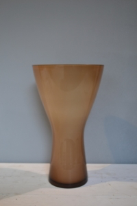 Brown & White Tapered Glass Vase