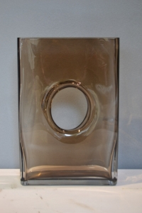 Rectangular Brown Vase with a Hole