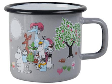 Moomin Enamel Mug - Retro - Garden - Grey