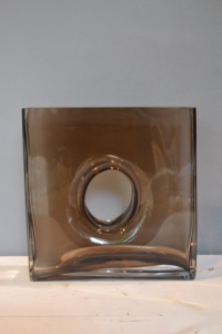 Square Brown Glass Vase with a Hole