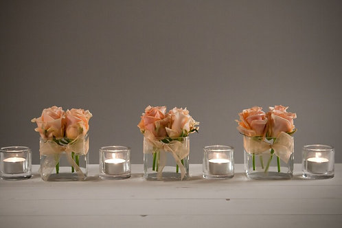 3 x Small Cube Vases with domes of roses with votives