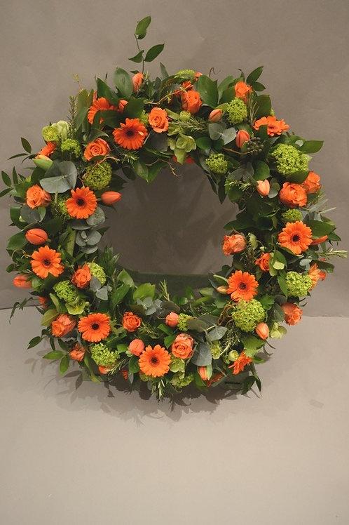 Orange Rose & Gerbera Standing Wreath - funeral flowers