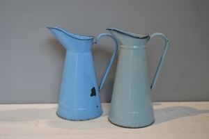 Blue Enamel Milk Jugs