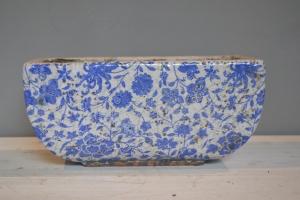 Blue & White Glazed Ceramic Pot