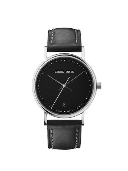 Georg Jensen Koppel - 32mm Quartz - Black Dial - Black Leather Strap