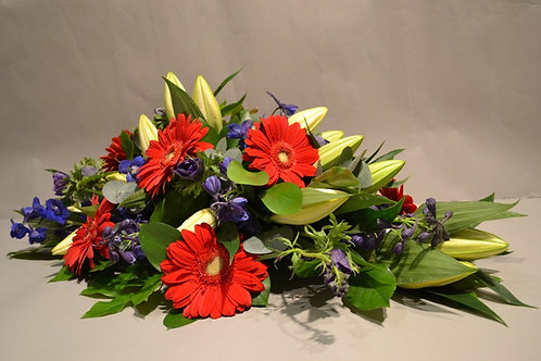 Red & Blue Spray - funeral flowers