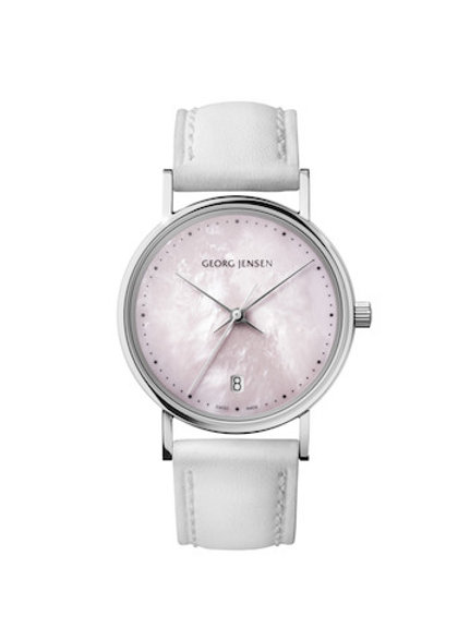 Georg Jensen Koppel - 32mm Quartz - Rose Mother-of-Pearl Dial - White Leather Strap