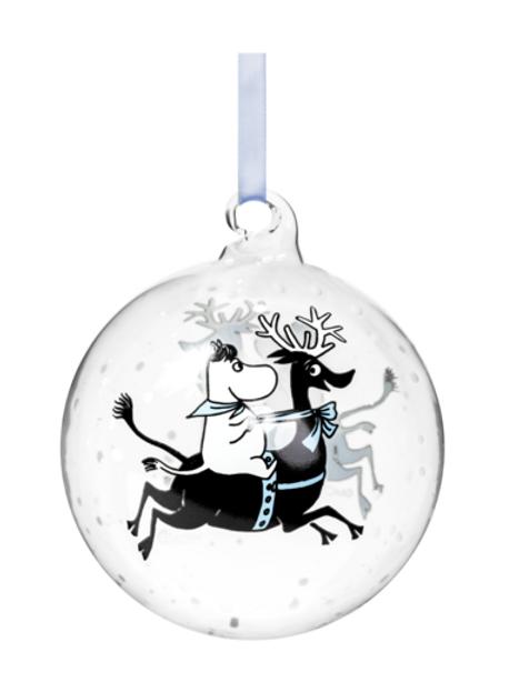 Moomin Christmas Decoration Ball - Reindeer Ride - 9cm