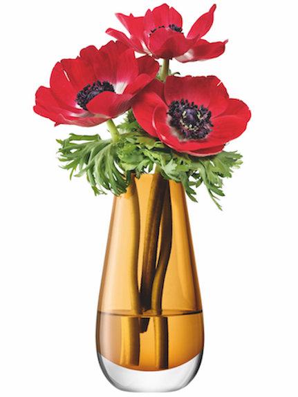 LSA Flower Bouquet Vase H14cm Amber