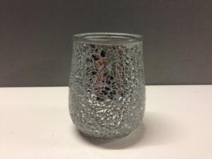 Silver Glitter Glass Votive