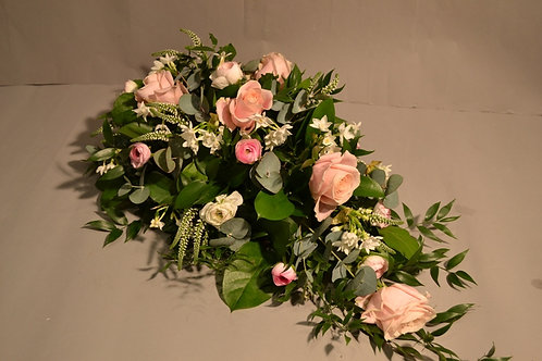 White & Pink Rose Spray - funeral flowers