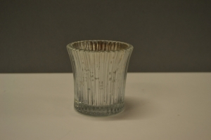 Silver Ridged Glass Votive