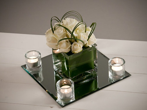Dome of Roses in a 12cm Cube Vase with Mirror & Votives