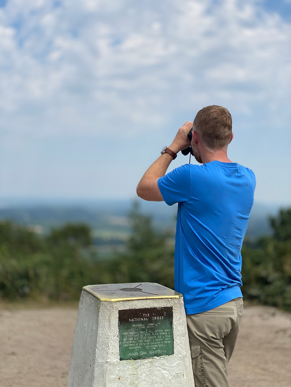 Russell looking at the view from the Devils Punch Bowl