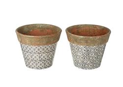 ceramic pot cream grey