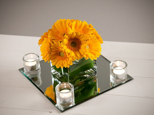Dome of Gerbera in a 12cm Cube Vase With Mirror & Votives
