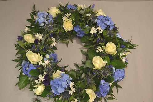 "Blue & White Sympathy Wreath 20"" - funeral flowers"