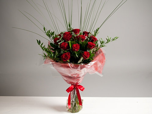 A Velvety Red Rose Bouquet - A Dozen Red Roses - flowers online